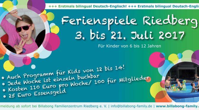 Hinweis zu den Ferienspielen unserer Freunde von Billabong am Riedberg